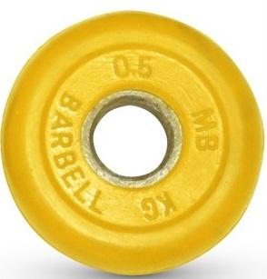 Диск для штанги 0,5кг d=26мм желтый MB-PltC26-0,5 MB Barbell