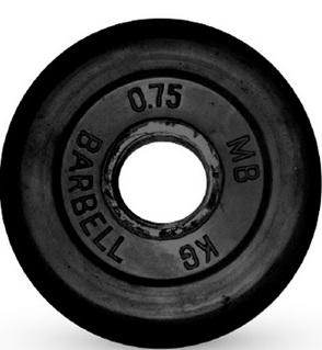 Диск ф26 мм, 0,75 кг, черный MB-PltB26-0,75 MB Barbell