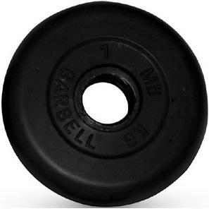 Диск для штанги 1кг d=26мм черный MB-PltB26-1 MB Barbell