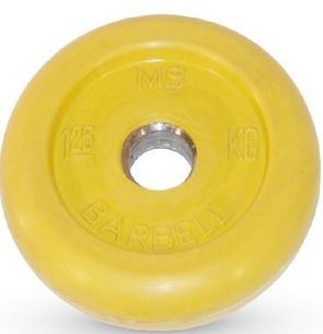 Диск для штанги 1,25кг d=26мм жёлтый MB-PltC26-1,25 MB Barbell