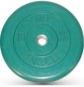 Диск ф26 мм, 10 кг, зеленый MB-PltC26-10 MB Barbell