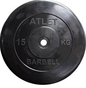 Диск для штанги 10кг d=26мм черный MB-AtletB26-10 MB Barbell