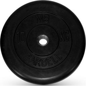Диск ф26 мм, 10 кг, черный MB-PltB26-10 MB Barbell