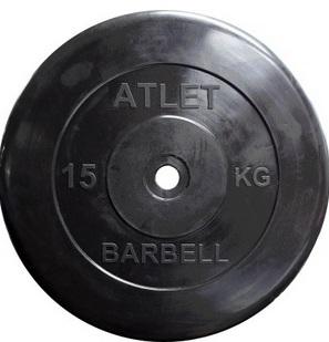 Диск для штанги 15кг d=26мм черный MB-AtletB26-15 MB Barbell