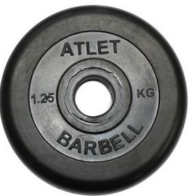 Диск для штанги 2,5кг d=26мм черный MB-AtletB26-2,5 MB Barbell