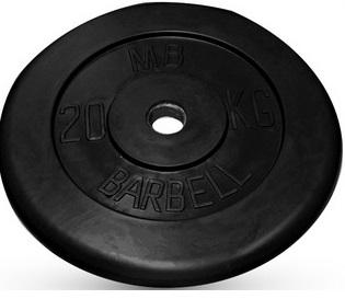 Диск для штанги 20кг d=26мм черный MB-PltB26-20 MB Barbell