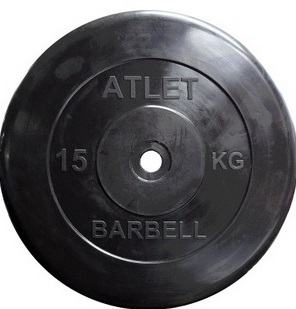 Диск для штанги 25кг d=26 черный MB-AtletB26-25 MB Barbell