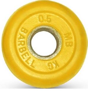 Диск для штанги 0,5кг d=31мм желтый MB-PltC31-0,5 MB Barbell