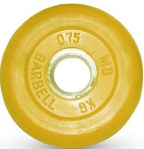 Диск для штанги 0,75кг d=31мм желтый MB-PltC31-0,75 MB Barbell