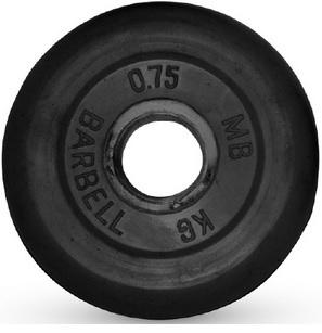 Диск для штанги 0,75кг d=31мм черный MB-PltB31-0,75 MB Barbell