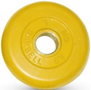 Диск для штанги 1кг d=31мм желтый MB-PltC31-1 MB Barbell