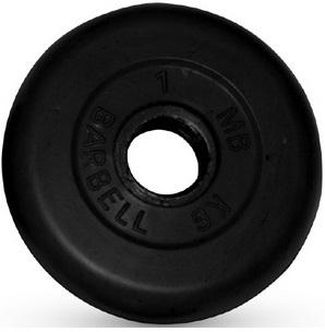 Диск для штанги 1кг d=31мм черный MB-PltB31-1 MB Barbell
