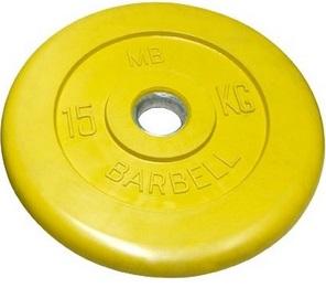 Диск ф31 мм, 15 кг, желтый MB-PltC31-15 MB Barbell