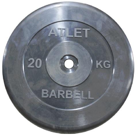 Диск для штанги 20кг d=31мм черный MB-AtletB31-20 MB Barbell