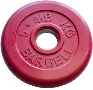Диск для штанги 5кг d=31мм красный MB-PltC31-5 MB Barbell