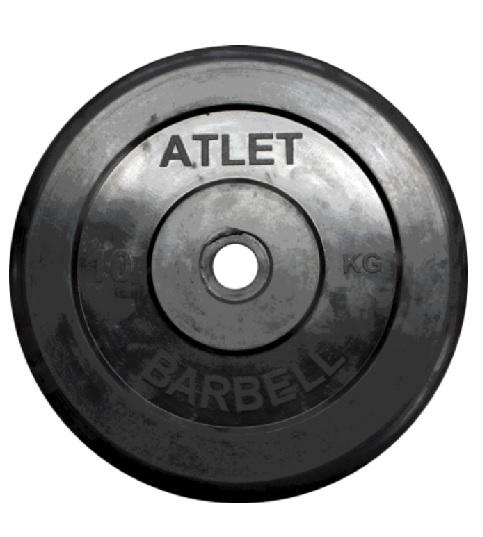 Диск для штанги 10кг d=51мм черный MB-AtletB51-10 MB Barbell