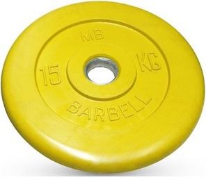 Диск для штанги 15кг d=51мм желтый MB-PltC51-15 MB Barbell