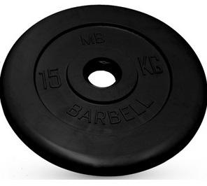 Диск для штанги 15кг d=50мм черный MB-PltB50-15 MB Barbell