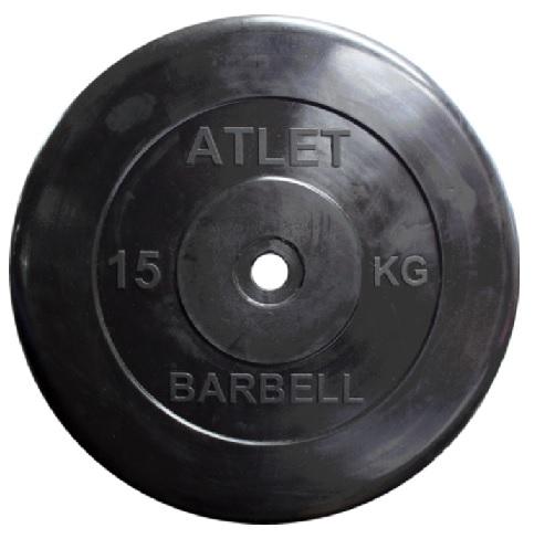 Диск для штанги 15кг d=51мм черный MB-AtletB51-15 MB Barbell