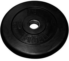 Диск для штанги 20кг d=50мм черный MB-PltB50-20 MB Barbell