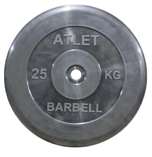 Диск для штанги 25кг d=51мм черный MB-AtletB51-25 MB Barbell
