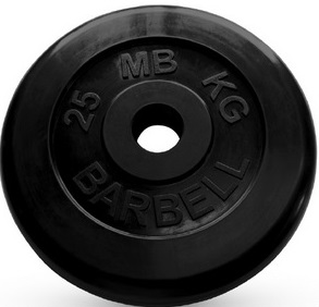 Диск для штанги 25кг d=51мм черный MB-PltB51-25 MB Barbell