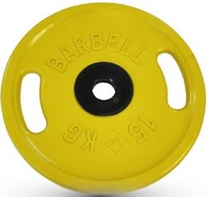 Диск для штанги 15кг d=50мм желтый евро-классик с ручками MB-PltСS-15 MB Barbell