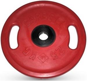 Диск для штанги 25кг d=51мм красный евро-классик с ручками MB-PltCS-25 MB Barbell