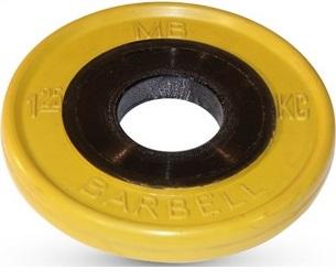 Диск ф50 мм, евро-классик, 1,25 кг, желтый MB-PltCE-1,25 MB Barbell