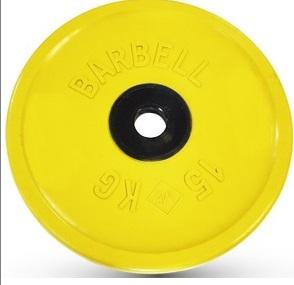 Диск для штанги 15кг d=51мм желтый евро-классик MB-PltCE-15 MB Barbell