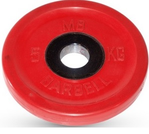 Диск для штанги 5кг d=51мм красный евро-классик MB-PltCE-5 MB Barbell