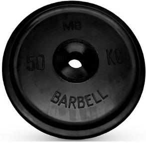 Диск для штанги 50кг d=50мм черный евро-классик MB-PltBE-50 MB Barbell